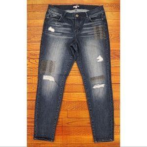 juicy couture dark wash, distressed, skinny jeans